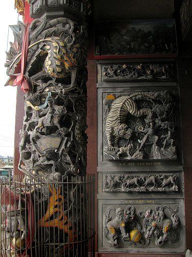 Carved stone pillars
