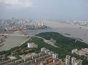 View from the TV tower in Hanyang: That's Hankou on the left and Wuchang on the right.  Yangtze river on the right, Han river on the left.