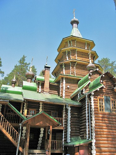 Traditional Russian orthodox wooden church action